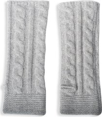 portolano women's cabled cashmere arm warmers - light heather grey