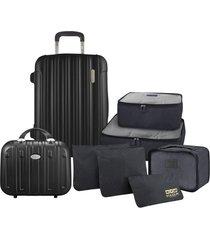 conjunto de mala e frasqueira de viagem trip prata com kit organizador de malas de 6 peças jacki design preto