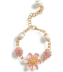 dolce & gabbana floral chain bracelet - gold