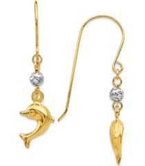 dolphin fish hook earrings in 14k yellow and white gold