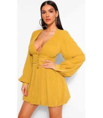 chiffon plunge button detail skater dress, mustard