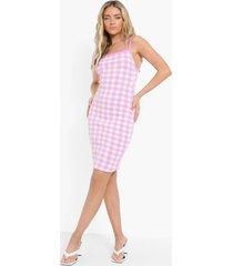 gebreide gingham jurk, pink