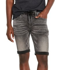 buffalo david bitton men's parker-x slim-fit black acid wash denim shorts