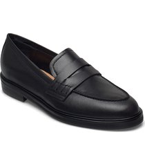 sara black leather loafers låga skor svart flattered