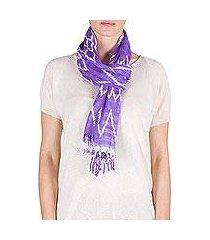 cotton scarf, 'solola lilacs' (guatemala)