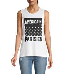 south parade women's graphic tank top - white - size xs