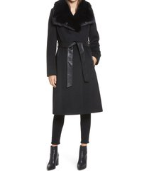 women's via spiga faux fur trim belted wool blend coat, size 16 - black