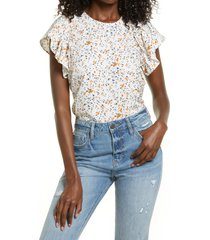 aware by vero moda floral print ruffle top, size small in birch at nordstrom