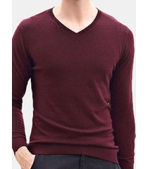 casual maglione a pullover di 100% lana a maglia con collo v in colore a tinta unita