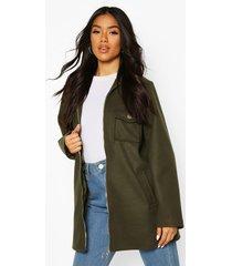 utility o ring wool look shirt jacket, khaki