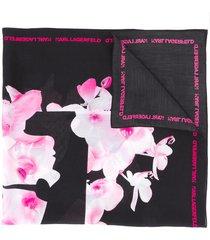 karl lagerfeld k/orchid silk scarf - black
