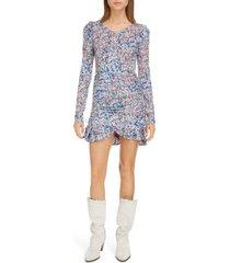women's isabel marant floral print long sleeve ruffled dress