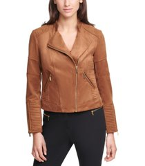calvin klein faux-suede moto zippered jacket