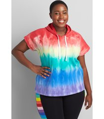 lane bryant women's livi french terry hoodie - rainbow tie-dye 14/16 multi stripe