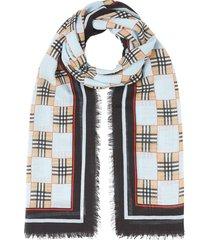 burberry checkered check scarf - blue