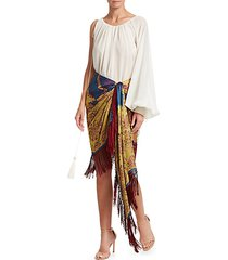 one-shoulder tassel & rope cuff blouse