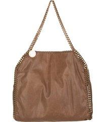 stella mccartney brown and gold falabella tote bag