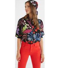 blouse puffed sleeves flowers - black - l