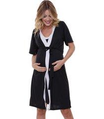 jogo de camisola maternidade com robe manga curta luna cuore