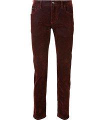 dolce & gabbana logo plaque slim-fit trousers - red