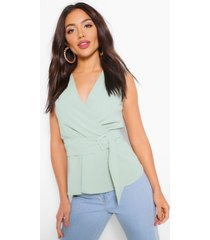 woven wrap assymetric belted blouse, mint