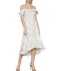gardenia cold-shoulder printed high-low dress
