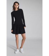 reiss charlotte - knitted ruffle hem dress in black, womens, size xl