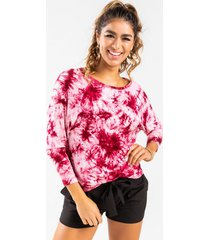 angiie tie-dye keyhole back tee - red