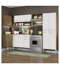 cozinha completa de canto reto madesa emilly sun com armário e balcão 11 portas 1 gaveta rustic/branco
