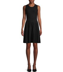 saks fifth avenue women's pleated knit fit-&-flare dress - black - size l