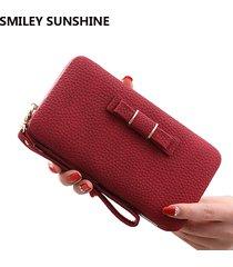wristlet leather women wallets female fashion red long wallet women big coin pur