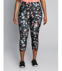 lane bryant women's livi capri power legging - floral with strappy hem 14/16 water color bouquet