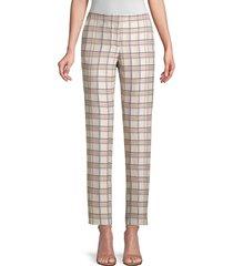 lafayette 148 new york women's manhattan slim plaid pants - tea flower multi - size 14