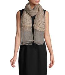 saachi women's wavy metallic lace scarf - gold