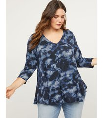 lane bryant women's softest touch abstract print swing top 18/20 blue cloud tie dye