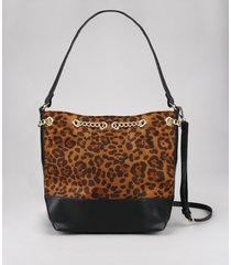 bolsa hobo feminina grande com estampa animal print e corrente preta