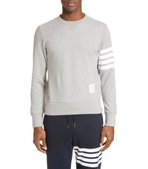 men's thom browne stripe sleeve sweatshirt, size 3 - grey