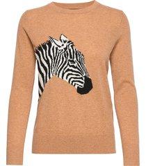 italian wool-blend zebra sweater stickad tröja brun banana republic