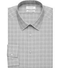 calvin klein men's infinite non-iron gray plaid plaid slim fit dress shirt - size: 15 32/33