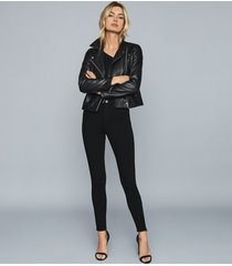 reiss skye - bi-stretch high rise skinny jeans in black, womens, size 32