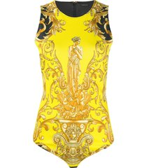 versace barocco cut-out bodysuit - yellow