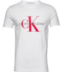 monogram logo slim tee t-shirts short-sleeved vit calvin klein jeans
