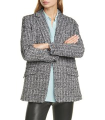 women's rag & bone ames linton wool blend metallic tweed blazer, size 8 - black