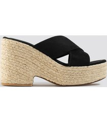 na-kd shoes raffia block heel sandals - black
