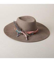 sundance catalog women's montana turquoise hat in fog gray small