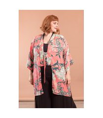 kimono oriente floral plus size rosa-único