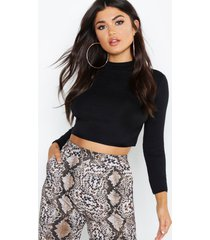 basic funnel neck long sleeve crop top, black