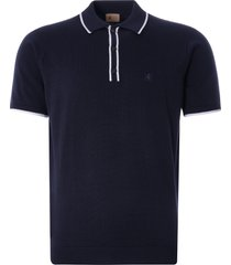 gabicci vintage 1973 lineker knitted polo shirt  | navy | v46gm09-nvy