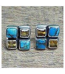 citrine button earrings, 'harmonious sky' (india)
