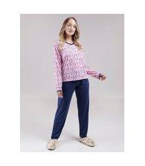 pijama longo feminino rosa/azul marinho